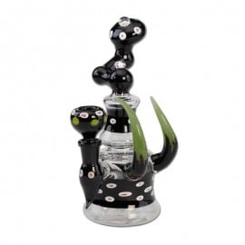 Glass Pipe With Horns - Black Leaf